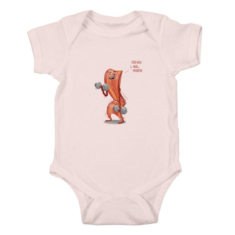 Bacon Muscles Kids Baby Bodysuit by Tiago Möller Art Shop