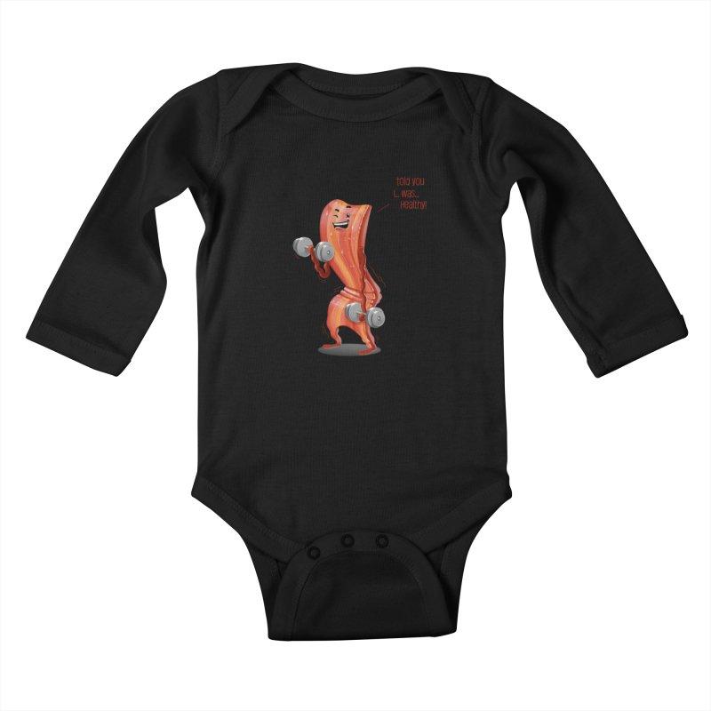 Bacon is Healthy Kids Baby Longsleeve Bodysuit by T2U