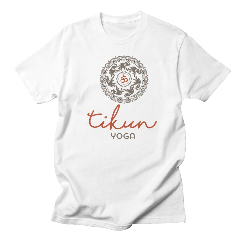 Tikun Yoga Products (on White & Gray) Men's Regular T-Shirt by tikunyoga's Artist Shop