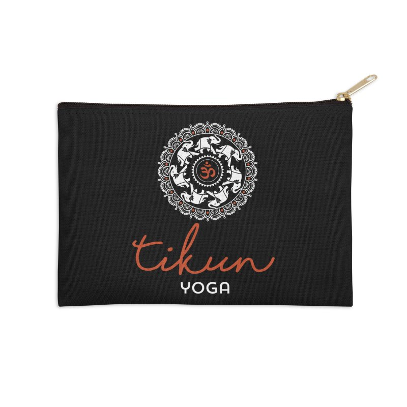 Tikun Yoga Products (on black) Accessories Zip Pouch by tikunyoga's Artist Shop