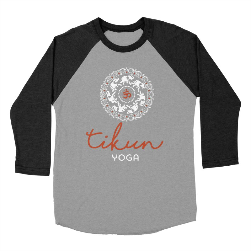 Tikun Yoga Products (on black) Women's Baseball Triblend Longsleeve T-Shirt by tikunyoga's Artist Shop