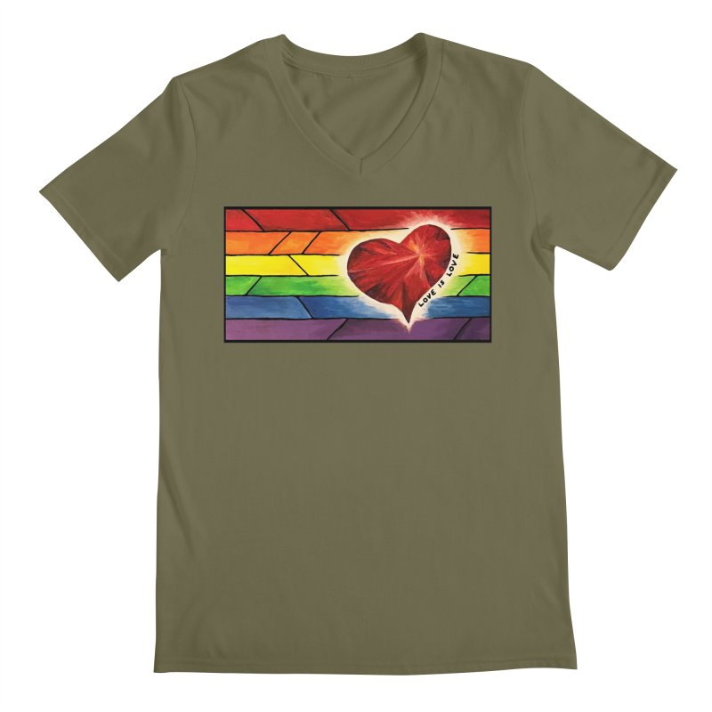 Love is Love Men's Regular V-Neck by Tilted Windmill's Artist Shop