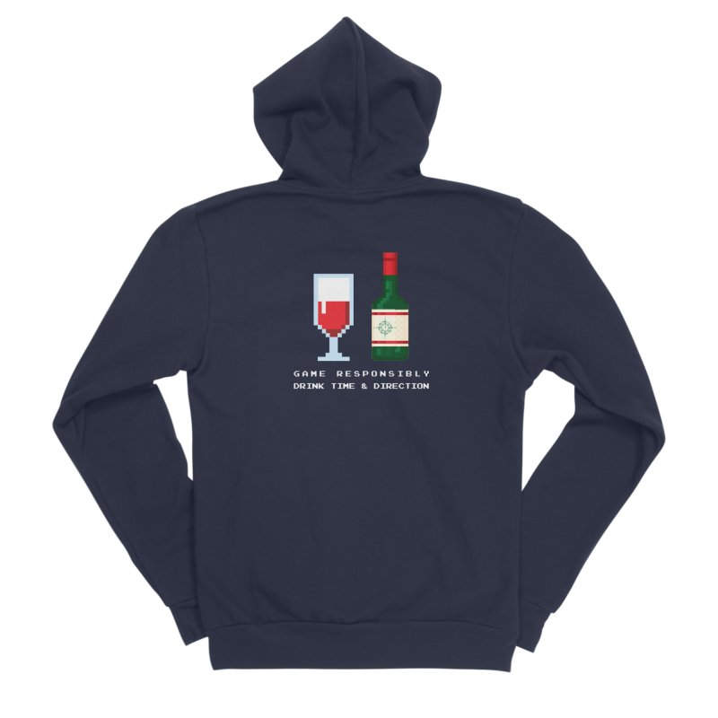 8-bit drinking Women's Sponge Fleece Zip-Up Hoody by Time & Direction Wines's Artist Shop