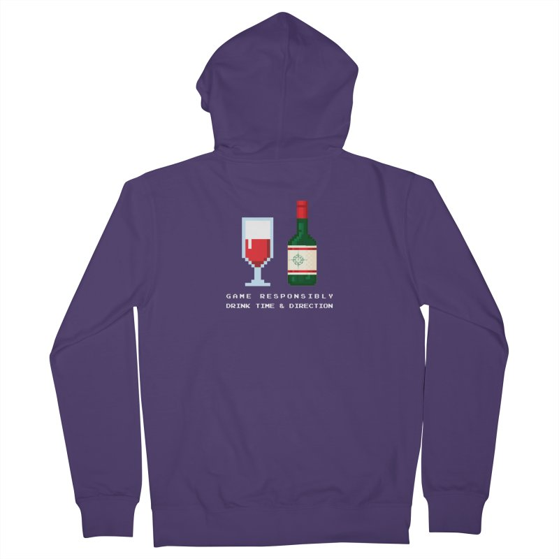 8-bit drinking Women's French Terry Zip-Up Hoody by Time & Direction Wines's Artist Shop