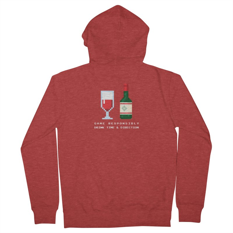 8-bit drinking Men's French Terry Zip-Up Hoody by Time & Direction Wines's Artist Shop