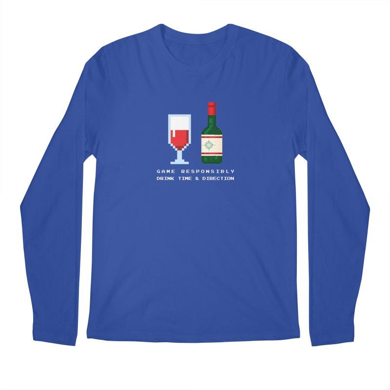 8-bit drinking Men's Regular Longsleeve T-Shirt by Time & Direction Wines's Artist Shop