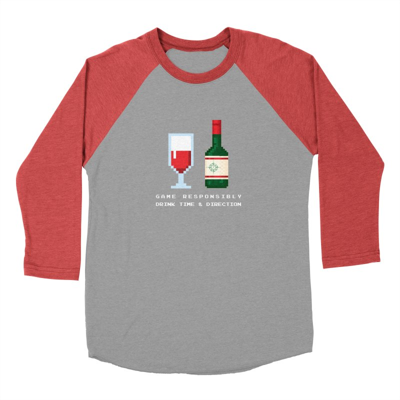 8-bit drinking Men's Baseball Triblend Longsleeve T-Shirt by Time & Direction Wines's Artist Shop