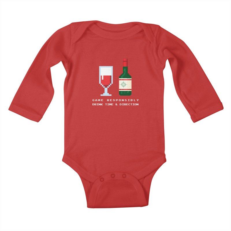 8-bit drinking Kids Baby Longsleeve Bodysuit by Time & Direction Wines's Artist Shop