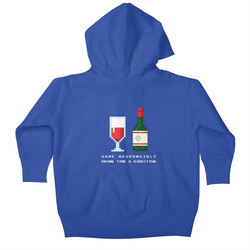 8-bit drinking Kids Baby Zip-Up Hoody by Time & Direction Wines's Artist Shop
