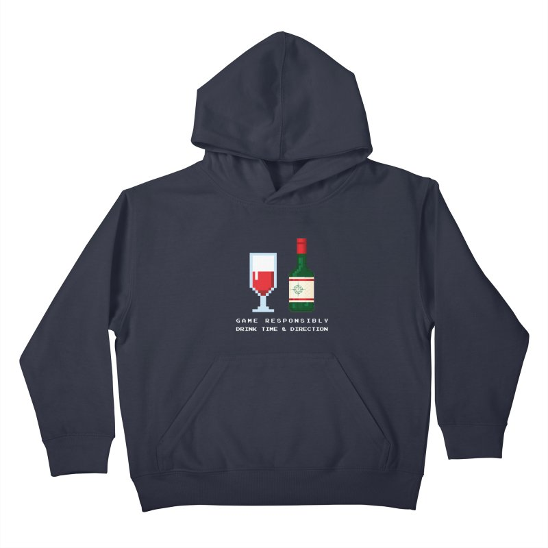 8-bit drinking Kids Pullover Hoody by Time & Direction Wines's Artist Shop