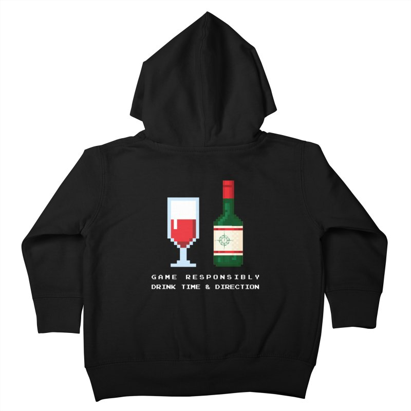 8-bit drinking Kids Toddler Zip-Up Hoody by Time & Direction Wines's Artist Shop