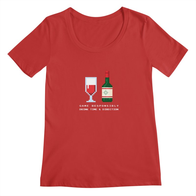 8-bit drinking Women's Regular Scoop Neck by Time & Direction Wines's Artist Shop