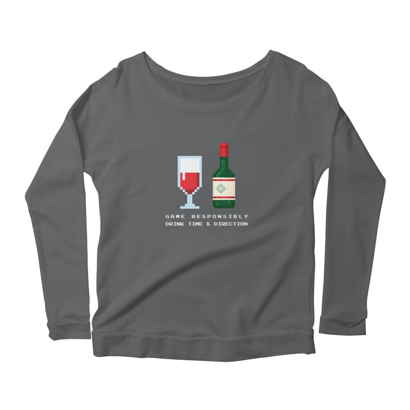 8-bit drinking Women's Scoop Neck Longsleeve T-Shirt by Time & Direction Wines's Artist Shop