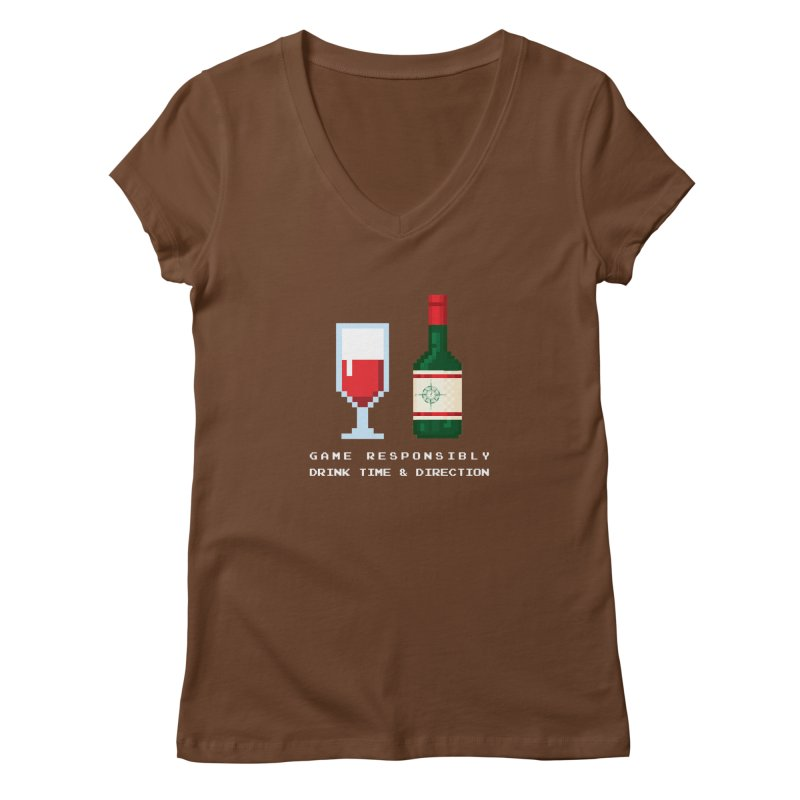 8-bit drinking Women's Regular V-Neck by Time & Direction Wines's Artist Shop