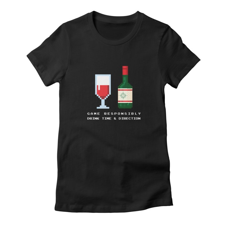 8-bit drinking Women's Fitted T-Shirt by Time & Direction Wines's Artist Shop