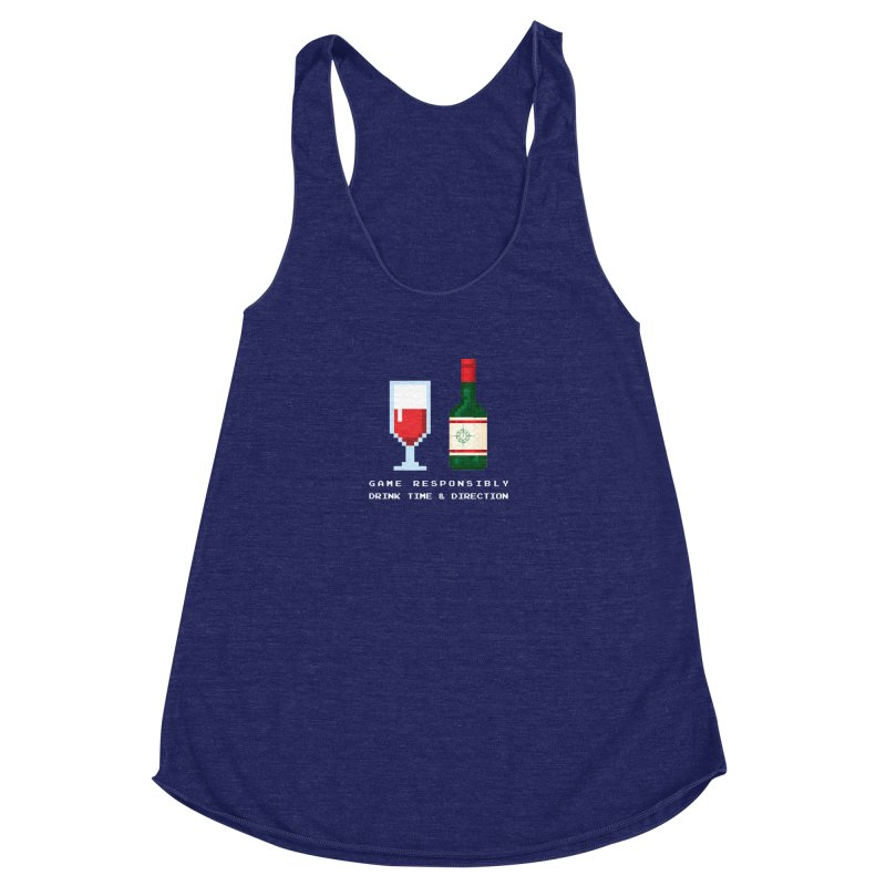 8-bit drinking Women's Racerback Triblend Tank by Time & Direction Wines's Artist Shop
