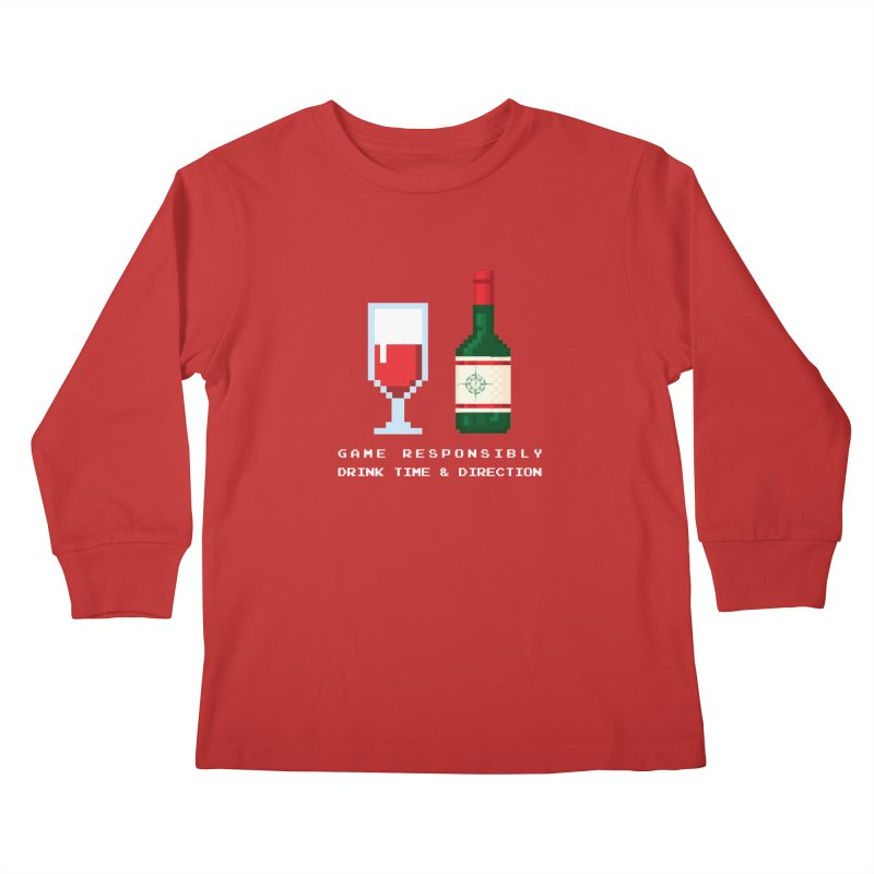 8-bit drinking Kids Longsleeve T-Shirt by Time & Direction Wines's Artist Shop