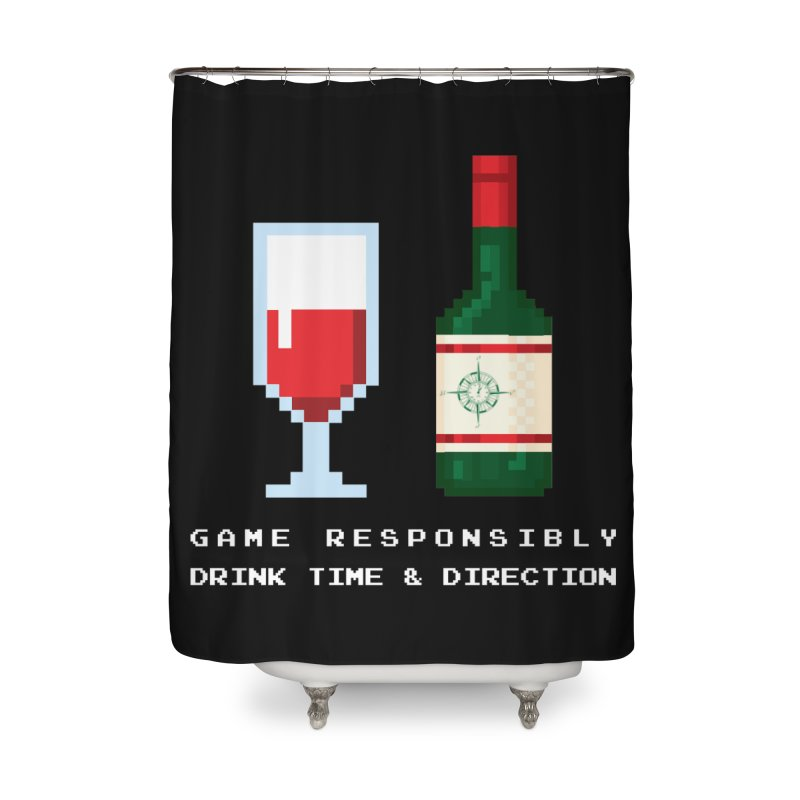 8-bit drinking Home Shower Curtain by Time & Direction Wines's Artist Shop