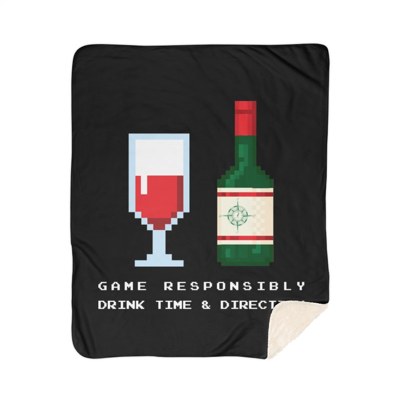 8-bit drinking Home Sherpa Blanket Blanket by Time & Direction Wines's Artist Shop