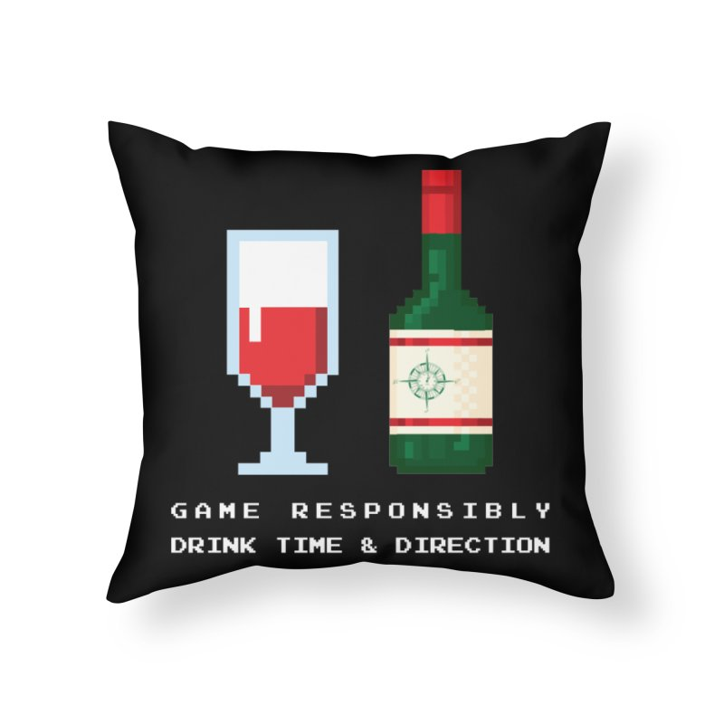 8-bit drinking Home Throw Pillow by Time & Direction Wines's Artist Shop