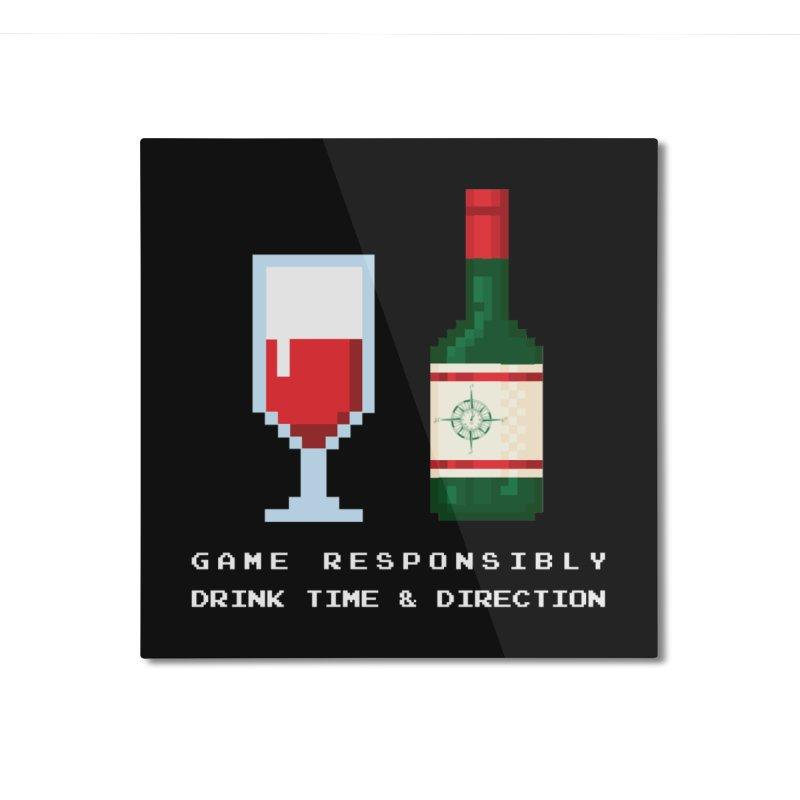 8-bit drinking Home Mounted Aluminum Print by Time & Direction Wines's Artist Shop