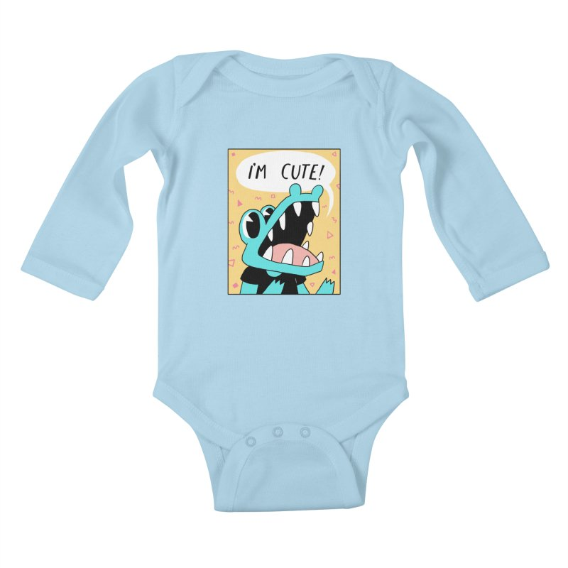 I'M CUTE! Kids Baby Longsleeve Bodysuit by GOOD AND NICE SHIRTS
