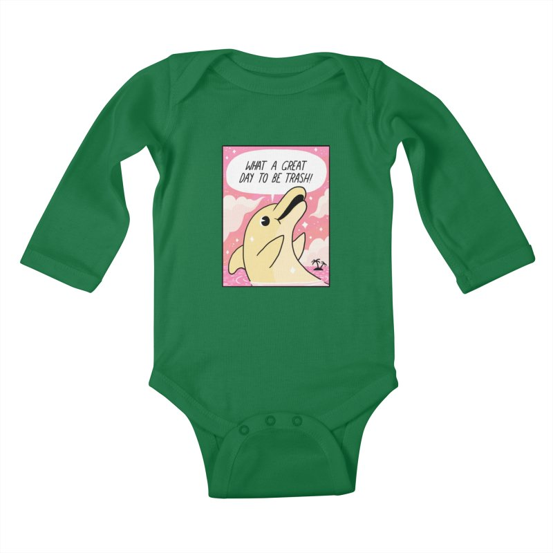 TRASH DOLPHIN  Kids Baby Longsleeve Bodysuit by GOOD AND NICE SHIRTS