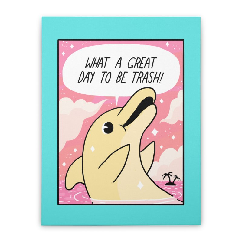 TRASH DOLPHIN  Home Stretched Canvas by GOOD AND NICE SHIRTS