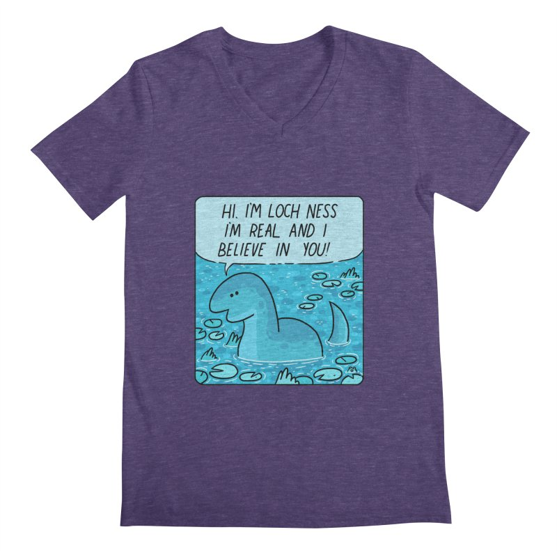LOCH NESS BELIEVES IN YOU Men's Regular V-Neck by GOOD AND NICE SHIRTS