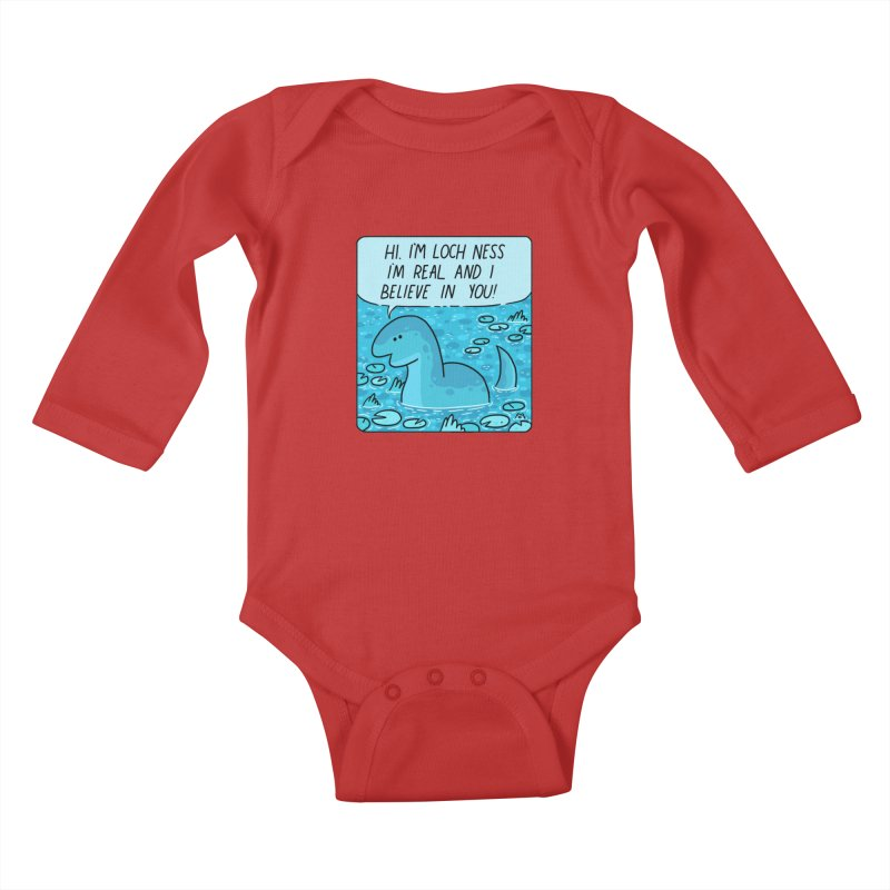 LOCH NESS BELIEVES IN YOU Kids Baby Longsleeve Bodysuit by GOOD AND NICE SHIRTS