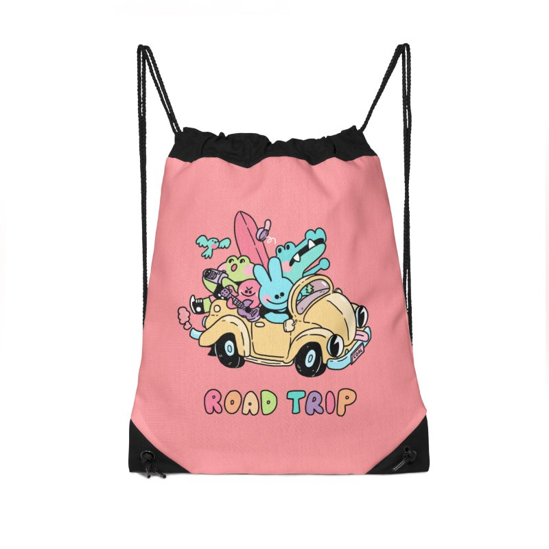 ROAD TRIP Accessories Drawstring Bag Bag by GOOD AND NICE SHIRTS