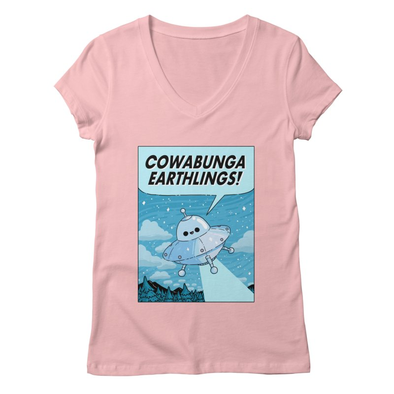 COWABUNGA EARTHLINGS Women's Regular V-Neck by GOOD AND NICE SHIRTS