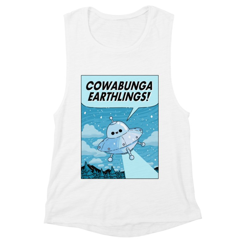 COWABUNGA EARTHLINGS Women's Muscle Tank by GOOD AND NICE SHIRTS