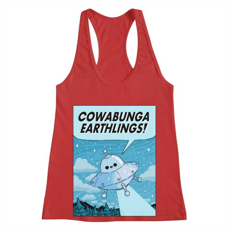 COWABUNGA EARTHLINGS Women's Racerback Tank by GOOD AND NICE SHIRTS