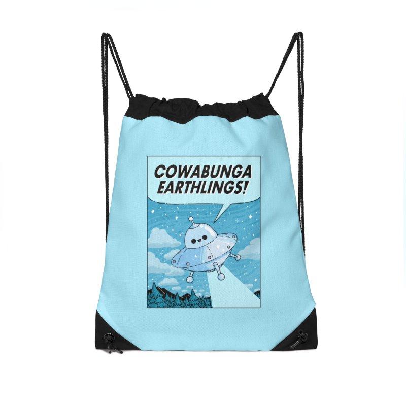 COWABUNGA EARTHLINGS Accessories Drawstring Bag Bag by GOOD AND NICE SHIRTS