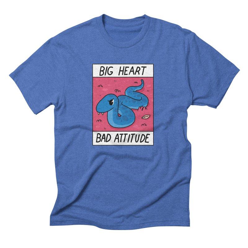 BIG HEART/BAD ATTITUDE Men's Triblend T-Shirt by GOOD AND NICE SHIRTS