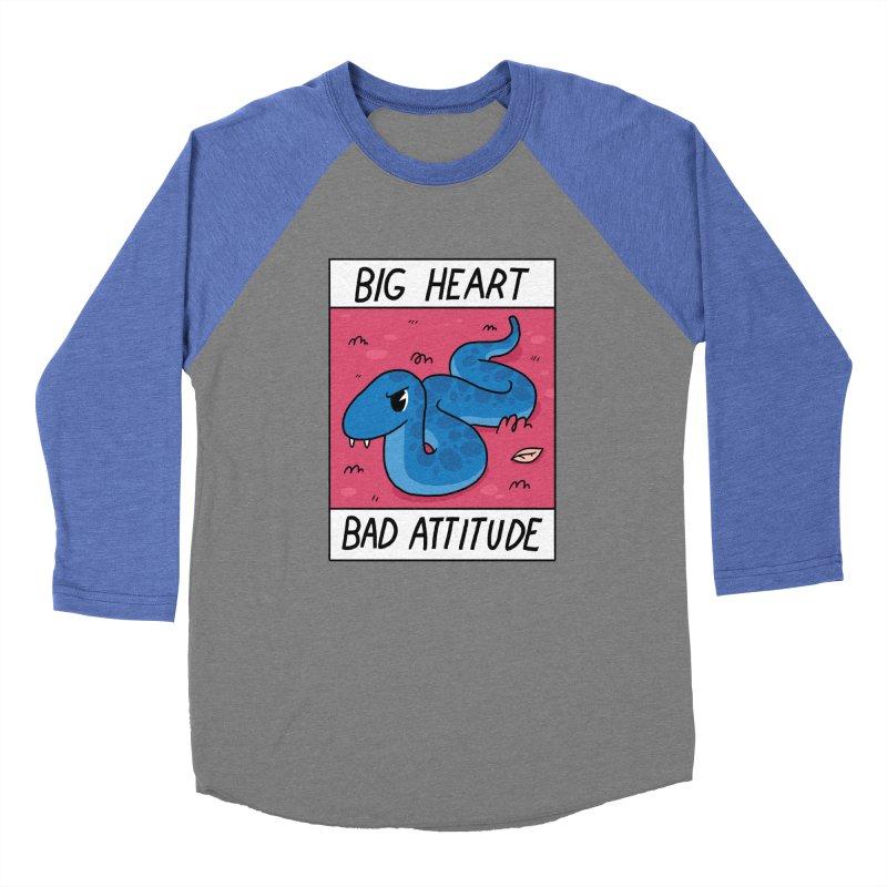 BIG HEART/BAD ATTITUDE Men's Baseball Triblend T-Shirt by GOOD AND NICE SHIRTS
