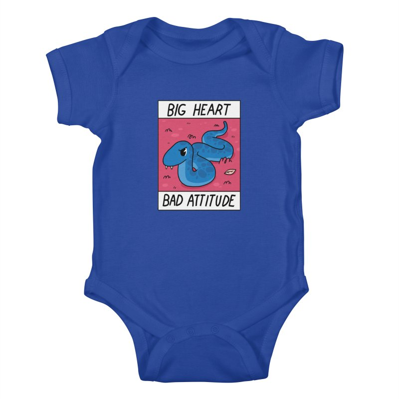 BIG HEART/BAD ATTITUDE Kids Baby Bodysuit by GOOD AND NICE SHIRTS