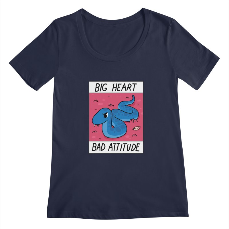 BIG HEART/BAD ATTITUDE Women's Scoopneck by GOOD AND NICE SHIRTS
