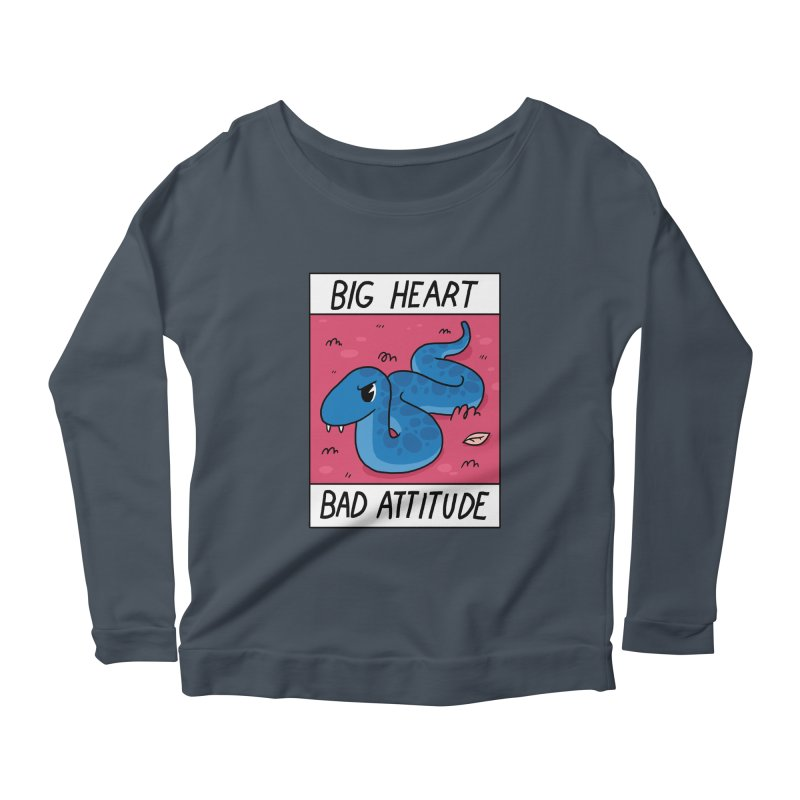 BIG HEART/BAD ATTITUDE Women's Longsleeve Scoopneck  by GOOD AND NICE SHIRTS