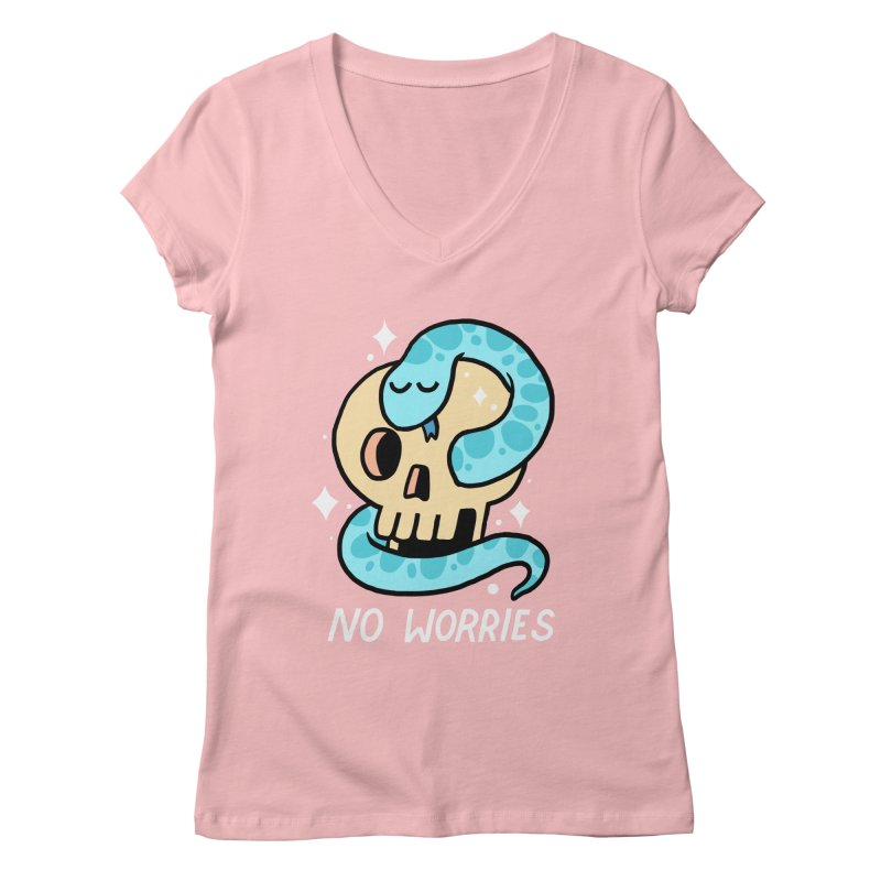 NO WORRIES Women's V-Neck by GOOD AND NICE SHIRTS