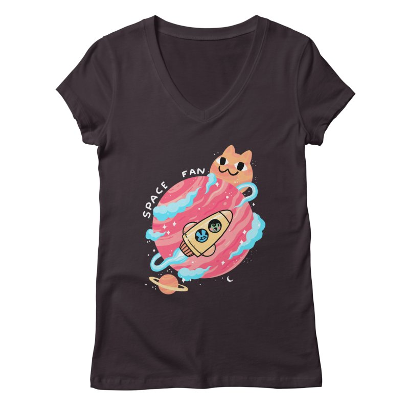 SPACE FAN Women's Regular V-Neck by GOOD AND NICE SHIRTS