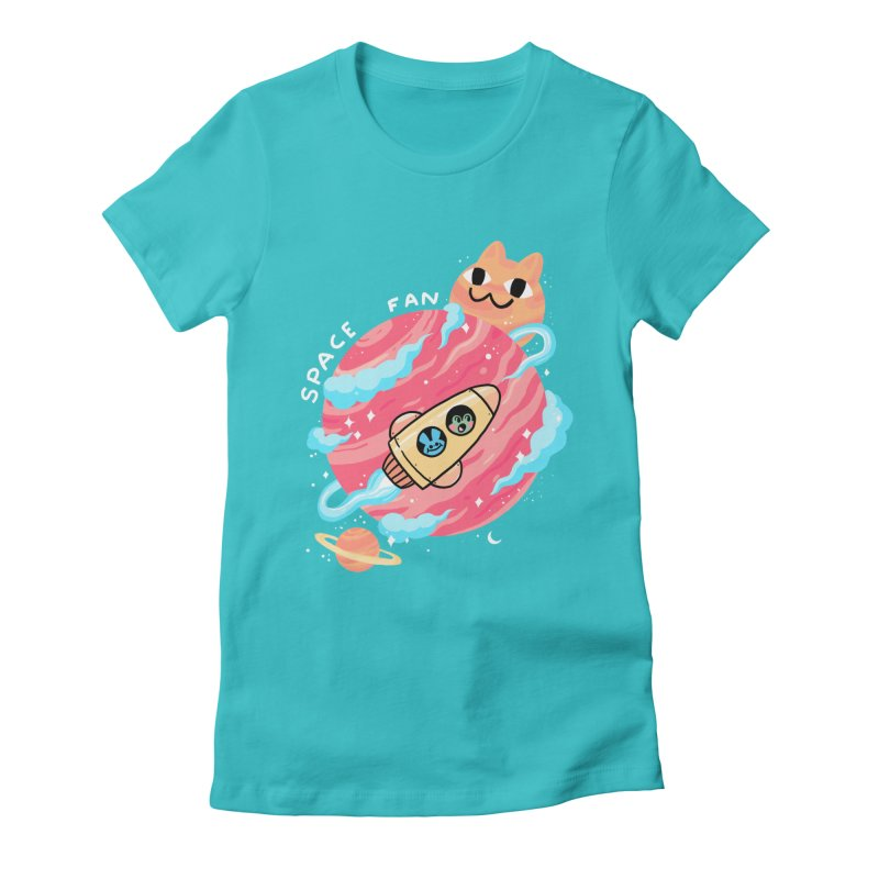 SPACE FAN Women's Fitted T-Shirt by GOOD AND NICE SHIRTS