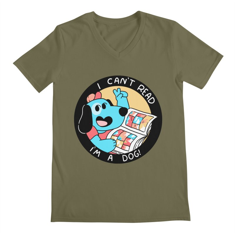 I CAN'T READ! Men's Regular V-Neck by GOOD AND NICE SHIRTS