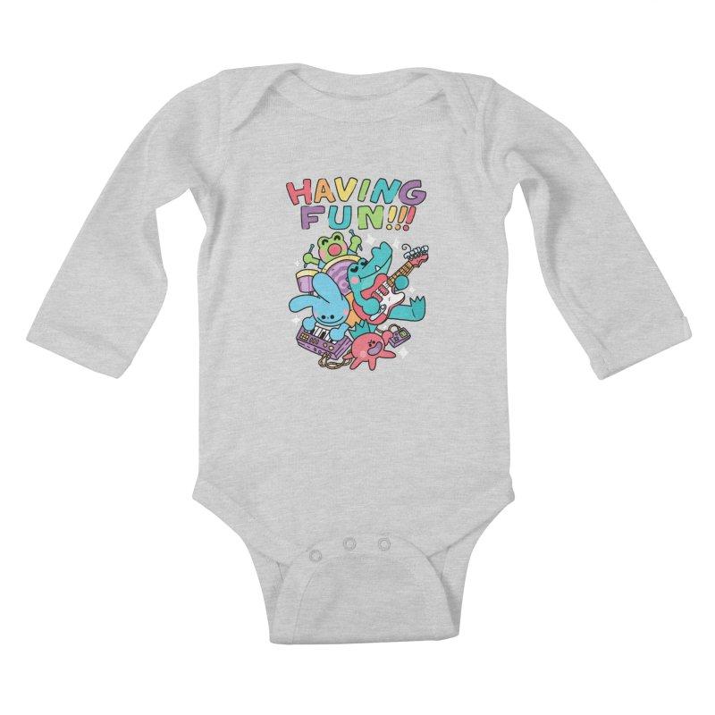 HAVING FUN Kids Baby Longsleeve Bodysuit by GOOD AND NICE SHIRTS