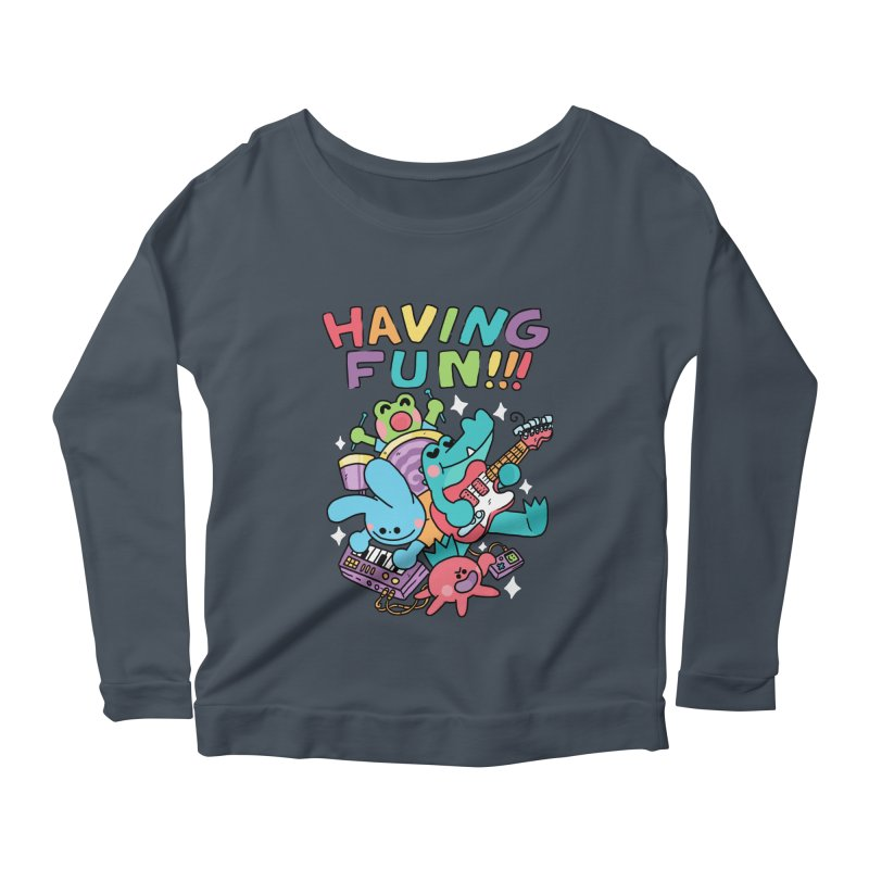 HAVING FUN Women's Scoop Neck Longsleeve T-Shirt by GOOD AND NICE SHIRTS