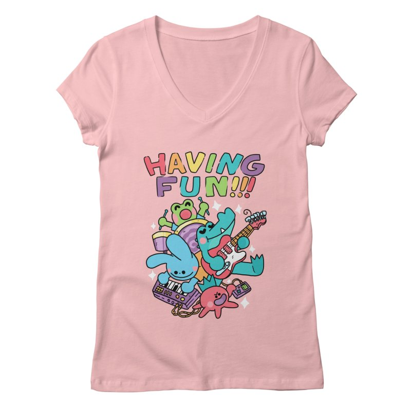 HAVING FUN Women's Regular V-Neck by GOOD AND NICE SHIRTS