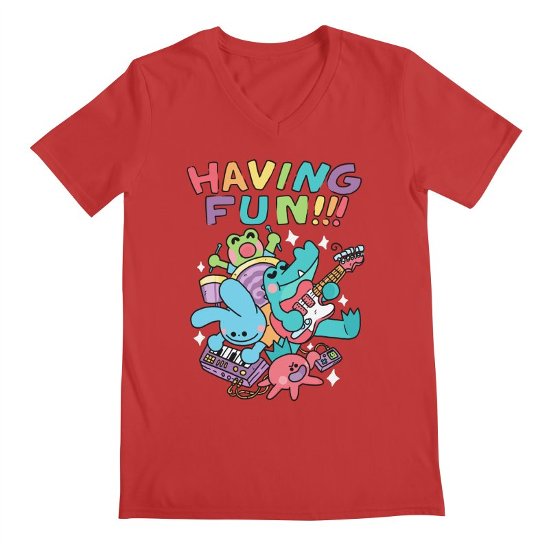 HAVING FUN Men's Regular V-Neck by GOOD AND NICE SHIRTS