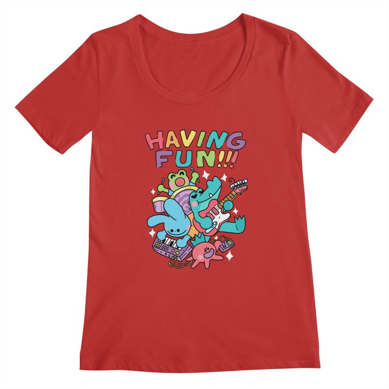 HAVING FUN Women's Regular Scoop Neck by GOOD AND NICE SHIRTS