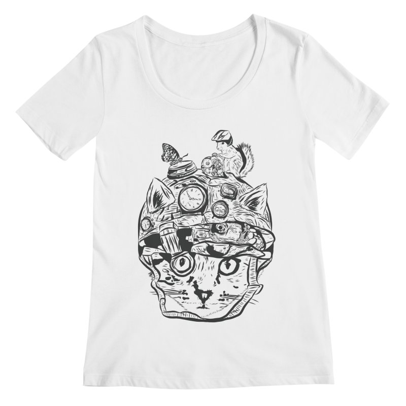 Make Your Own Time Machine Black and White Women's Regular Scoop Neck by Time Machine Supplies